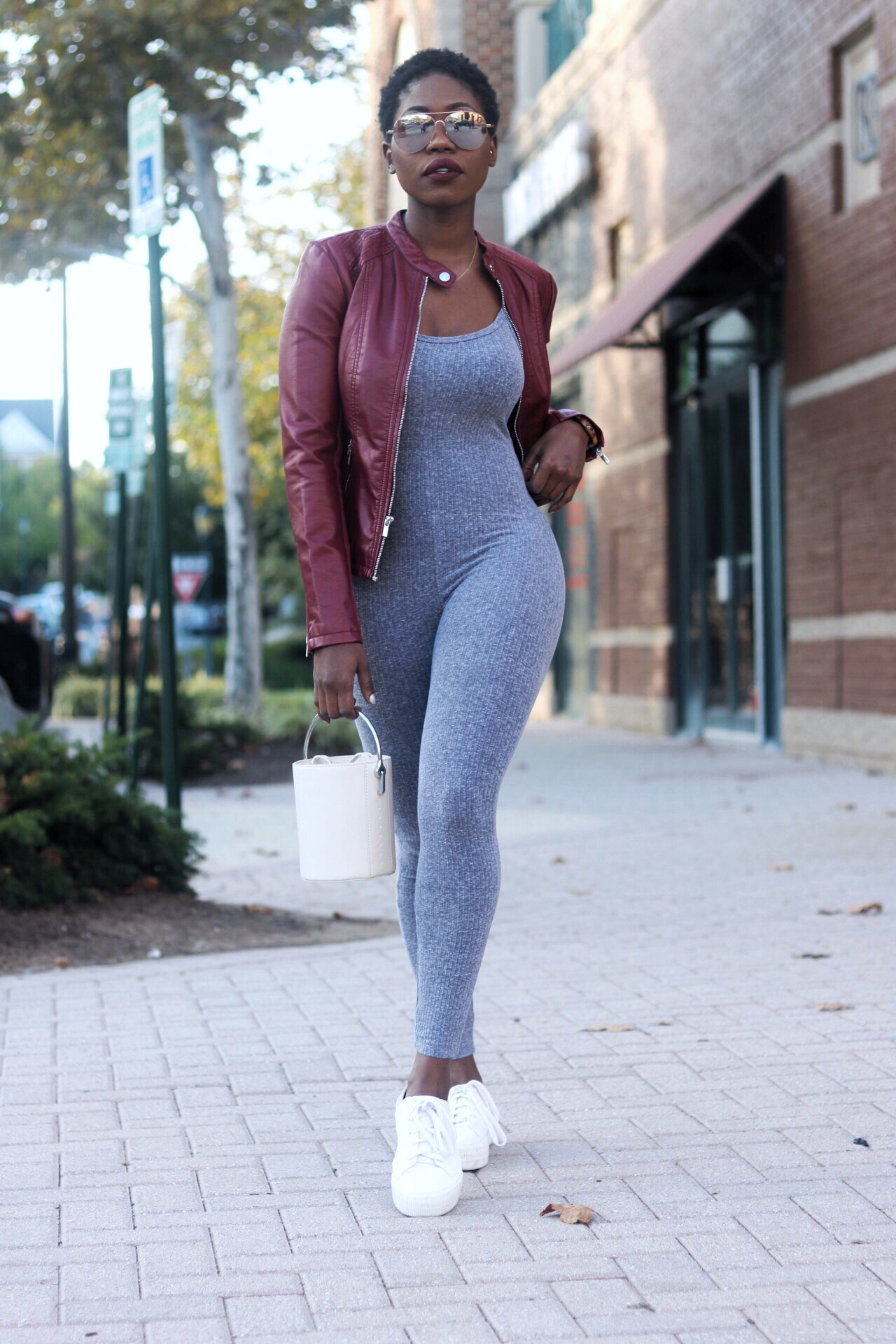 Alt= Grey Jersey Jumpsuit with Burgundy Jacket
