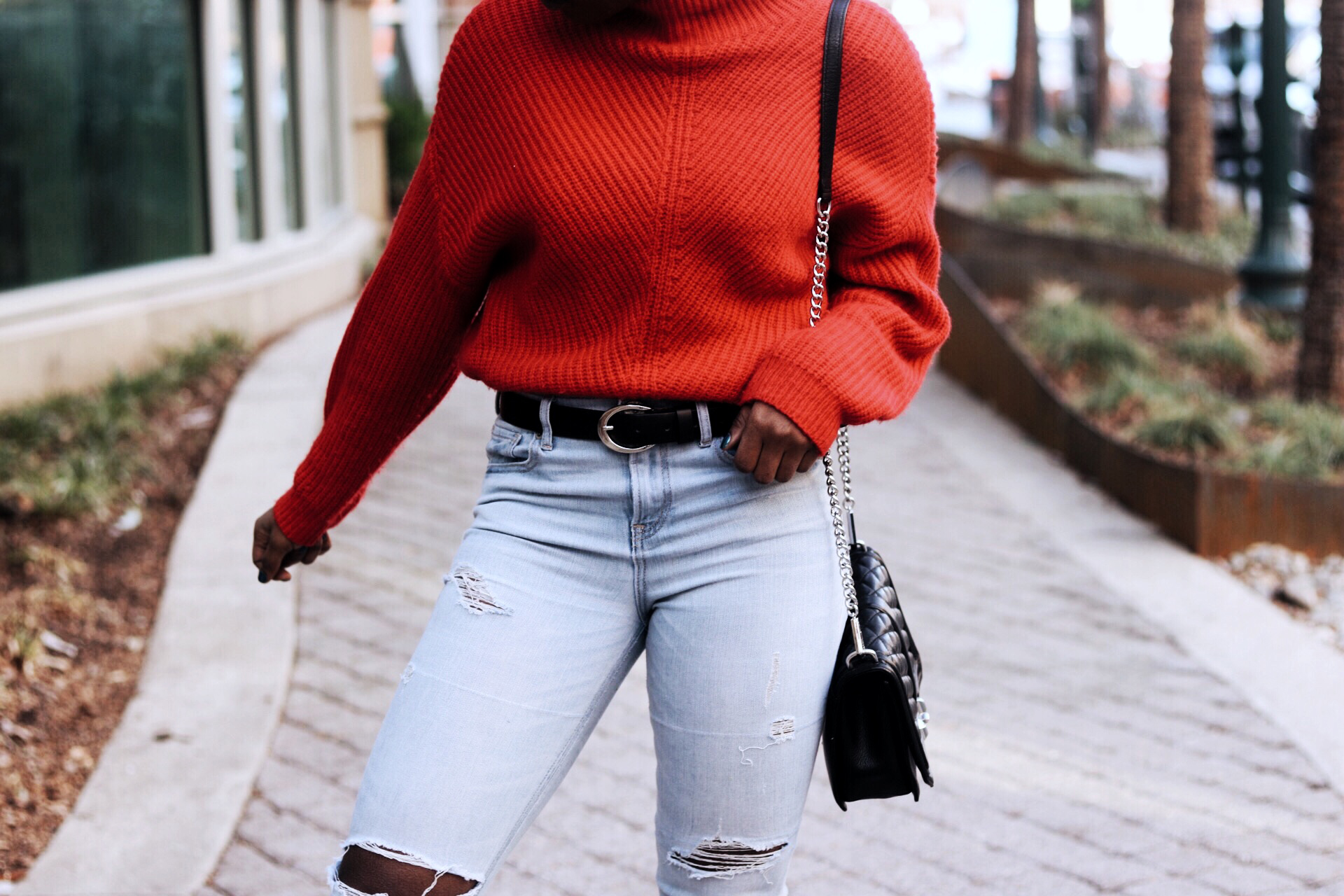ALT= 2017 red chunky sweater style