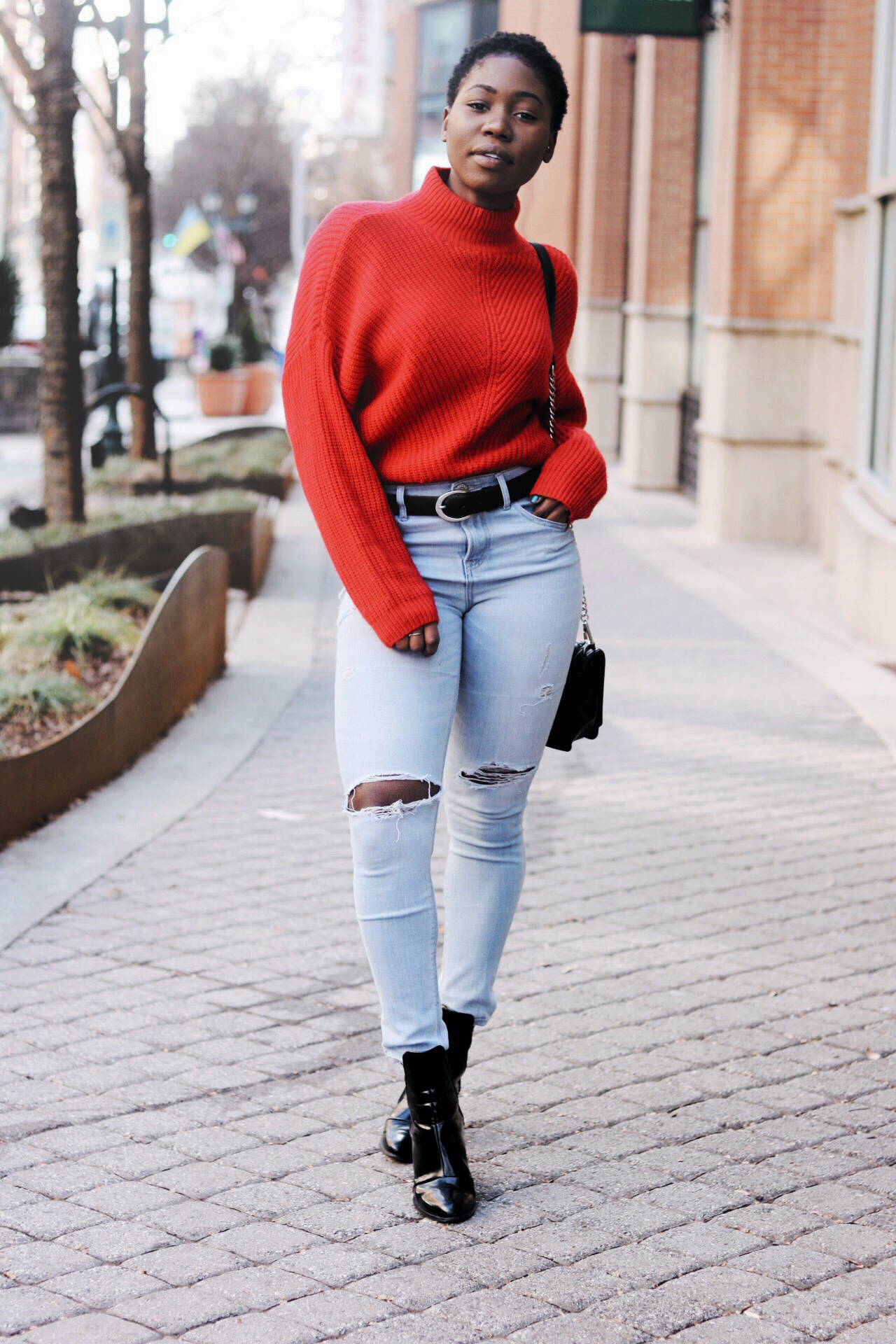 ALT= 2017 chic red sweater looks