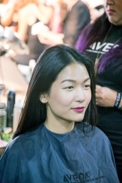 Vivien Ong of Q Models looking dapper before getting her hair done.