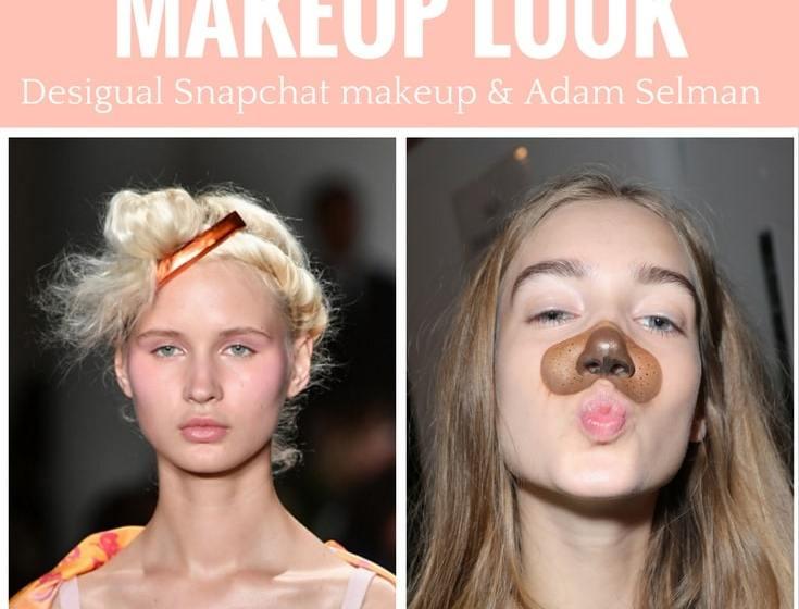 Get The Fashion Week Model Look: Snapchat filter makeup at Desigual and Adam Selman makeup and hair