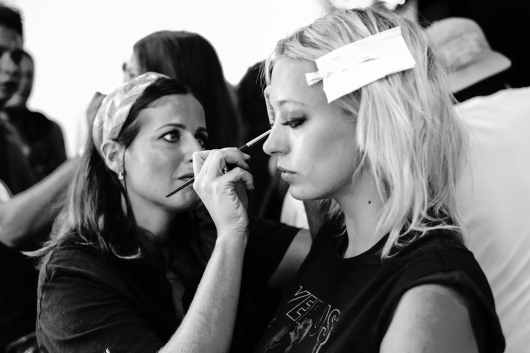 Backstage at Fashion Week: Style Tomes at Rebecca Minkoff, Caroline Vreeland getting makeup done