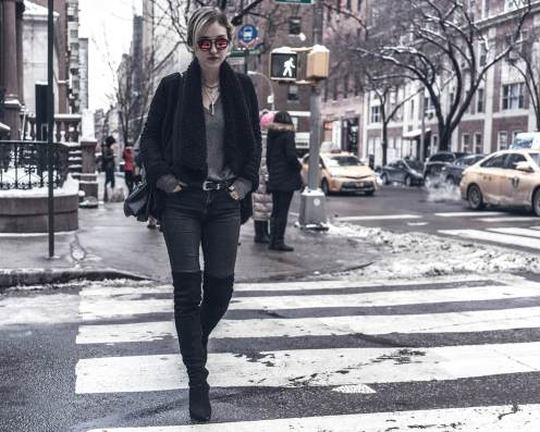 My love-hate relationship with OTK boots. Monochrome cold weather OOTD in NYC.