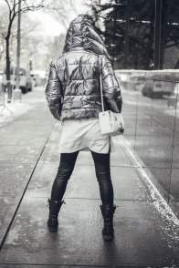 Metallic Clothing Trend 2017: Zara coat with Alexander McQueen purse