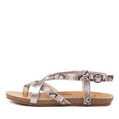 Blowfish Granola B White Snake Pewter Sandals Womens Shoes Comfort Sandals Flat Sandals