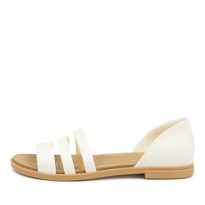 Crocs 206109 Tulum Open Flat Cc Oyster Tan Sandals Womens Shoes Casual Sandals Flat Sandals