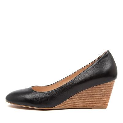 Diana Ferrari Lespie Df Black Natural Heel Shoes Womens Shoes Casual Heeled Shoes