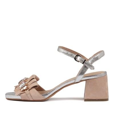 Django & Juliette Maura Nude Silver Sandals