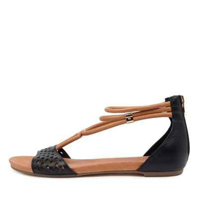 Django & Juliette Jocelyn Dj Navy Dk Tan Sandals Womens Shoes Casual Sandals Flat Sandals