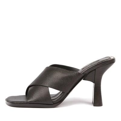 Jaggar Crossed Lizard Heel Black Sandals