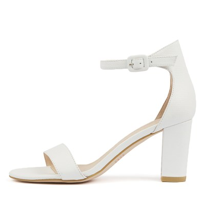 Mollini Gessie White Sandals Womens Shoes Casual Heeled Sandals