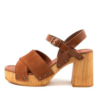 Mollini Combi Mo Cognac Tan Sandals Womens Shoes Casual Heeled Sandals