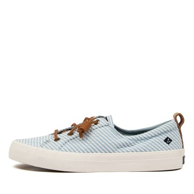 Sperry Crest Vibe Seersucker Strip Sp Blue White Sneakers Womens Shoes Comfort Casual Sneakers