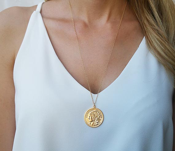HLcollection Etsy Large Gold Coin Necklace