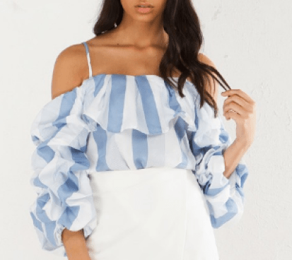 Give My All Off The Shoulder Blue White Akira