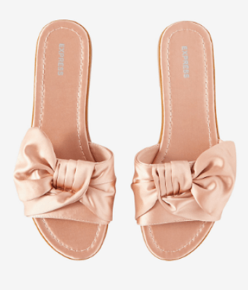 Pink Satin Bow Slides Sandals