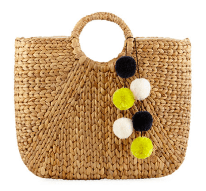 Large Strae Tote Bag with Pom Poms Last Call