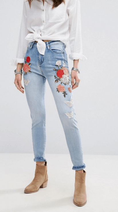 ASOS BooHoo High Rise Embroidered Skinny Jeans