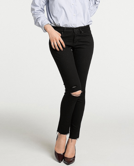 Uniqlo Women Ultra Strech Black Jean Frayed Hem