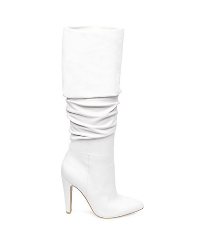 Steve Madden White Leather Slouchy Knee High Boots