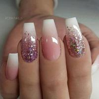 French Fade and Glitter Ombre on long Coffin Nails on ...