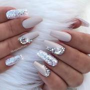 nude coffin nails silver glitter