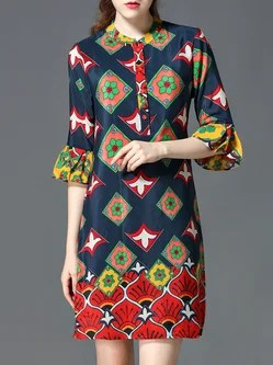 Printed Vintage Style Shirt Dress