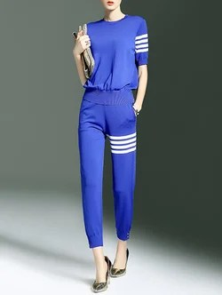 Pockets Half Sleeve Two Piece Crew Neck Casual Jumpsuit