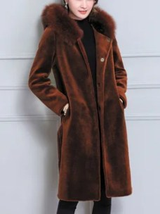 Plus Size Caramel Solid H-line Long Sleeve Artificial Leather And Shearling Coat