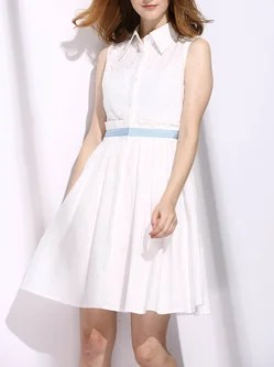 White Ruffled Sleeveless Color-block Shirt Collar Midi Dress