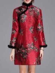 Red Turtleneck Long Sleeve Floral Printed Mini Dress