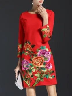 Long Sleeve Vintage Embroidered Crew Neck Midi Dress