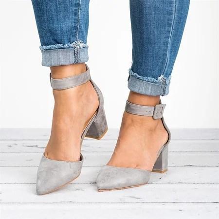 Noracora Womens Sandals Chunky Heel Adjustable Buckle