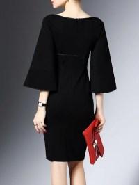 Frill Sleeve Sheath Simple Solid Zipper Work Dress ...
