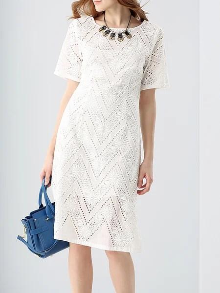 White Sheath Crew Neck Pierced Short Sleeve Midi Dress