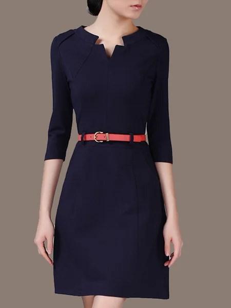 Fuchsia 34 Sleeve V Neck Pockets Solid Midi Dress