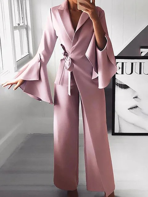 Stylewe Solid Jumpsuits For Work Lapel Light Grey Bell Sleeve Jumpsuits