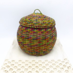Multi-Color Straw Keepsake Basket