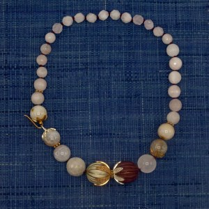 Pale Pink and Cream Quartz Necklace with Carved Wood Accents