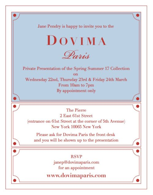 Dovima Paris Invitation New York March 2017