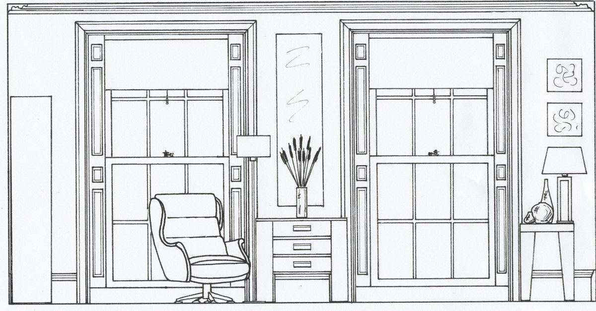 2D Elevation drawing of a living room  Style Within
