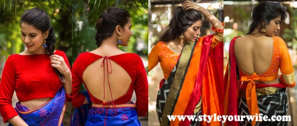 Back Knotted Blouse Designs Photos