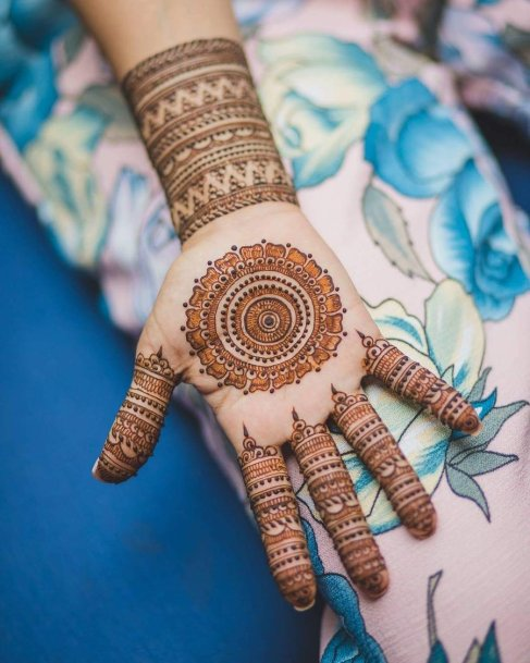 Mandala with a lace design on fingers