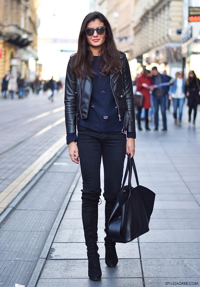Style Zagreb.com ulična moda Mirna Opolcer street style outfit kožna bajkerska jakna Zara čizme preko koljena, uske tamno plave traperice, mačkaste naočale