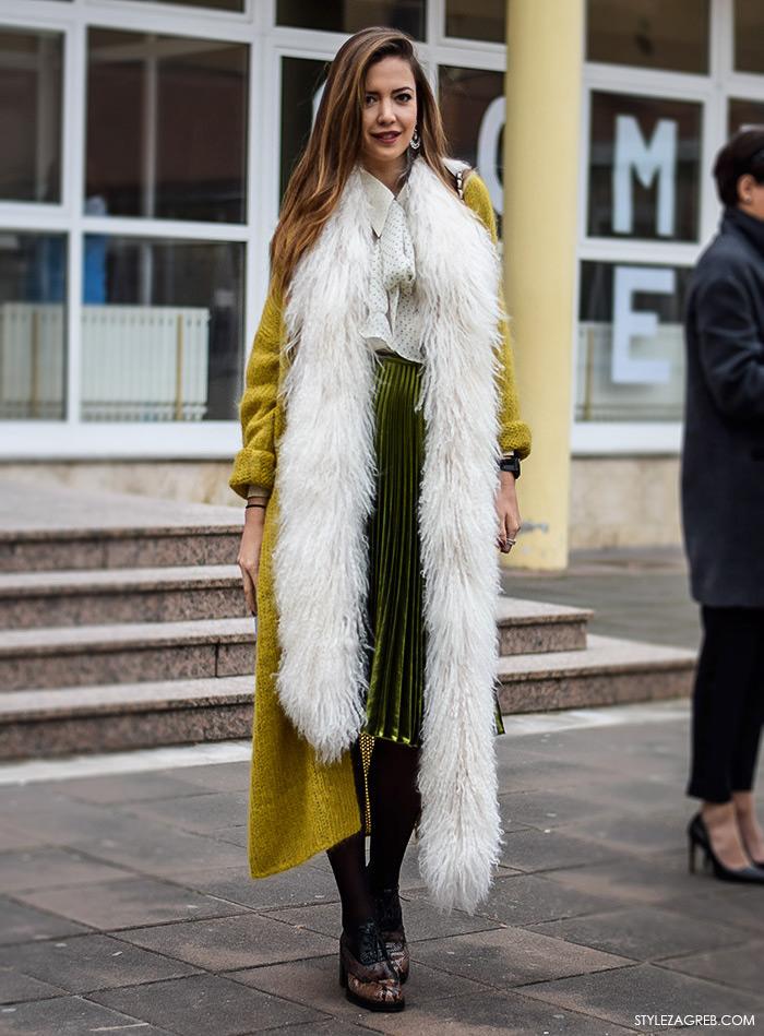 Zagreb street style moda, Milica Mihajlović, midi plisirana suknja i cipele s kocka petom