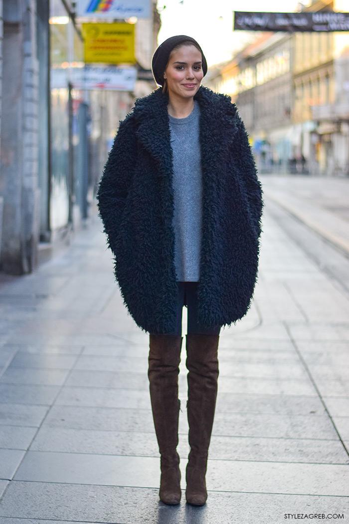Franka Batelić, kako kombinirati eko bundicu i čizme preko koljena, zagrebačka špica, modne kombinacije, street style moda