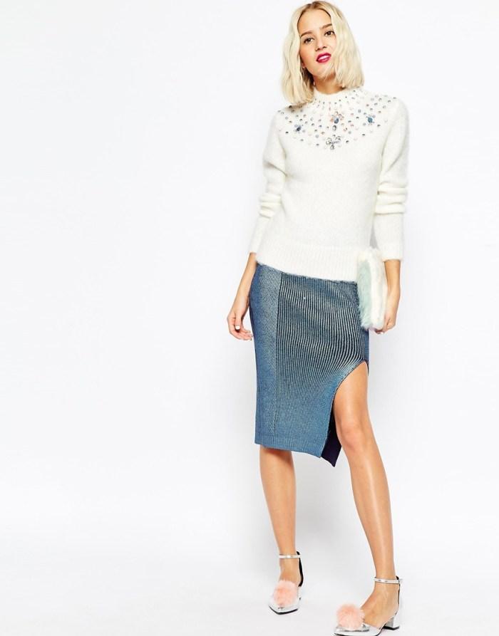 Moda: kako kombinirati džemper sa šljokicama i usku suknju