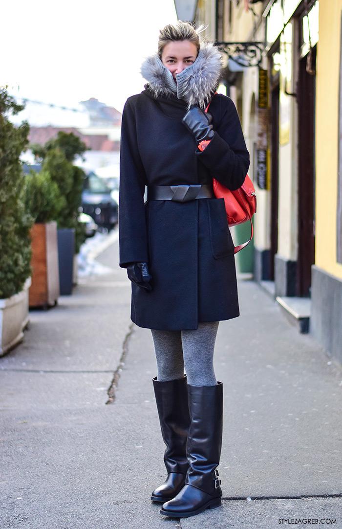 Zagreb street style moda Ilica siječanj 2016; stajling, kako kombinirati kraći elegantni crni kaput i modne detalje jarkih boja, marketing maganerica Anja Lutilsky, Drimia, Insatgram