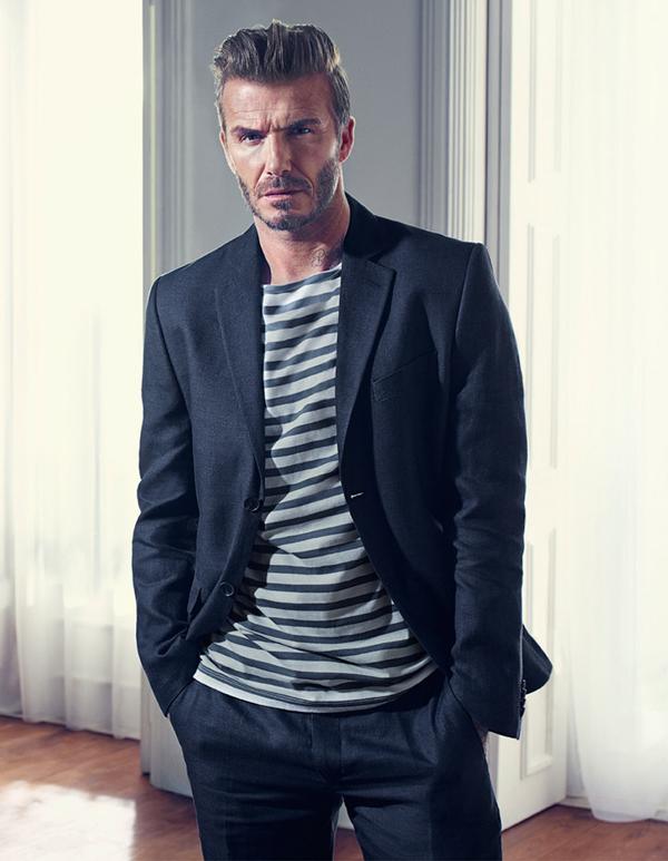muška moda David Beckham H&M kako kombinirati odijelo i prugastu majicu