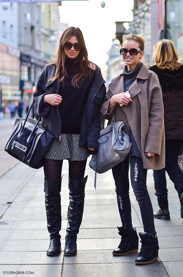 Ideje za dnevni stajling, ulična moda 2016 Zagreb street style Mia Matijević Nuša Prižmić Stylezagreb.com, čizme preko koljena i minica, Celine torba, siva dolčevita, poderane traperice i tenisice sa skrivenom potpeticom, Balenciaga torba, Miu Miu sunčane naočale